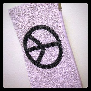 Off- white beaded Peace Clutch